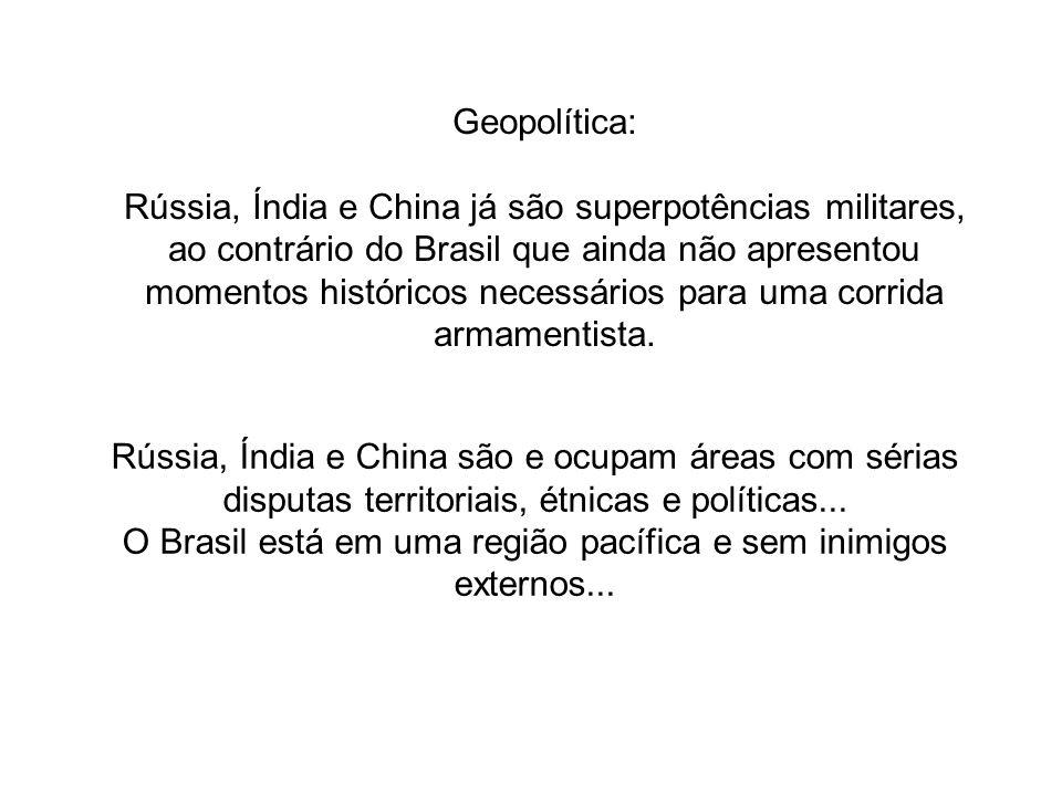 Geopolítica: Rússia, Índia e China já são superpotências militares, ao contrário do Brasil que ainda não apresentou momentos históricos necessários pa