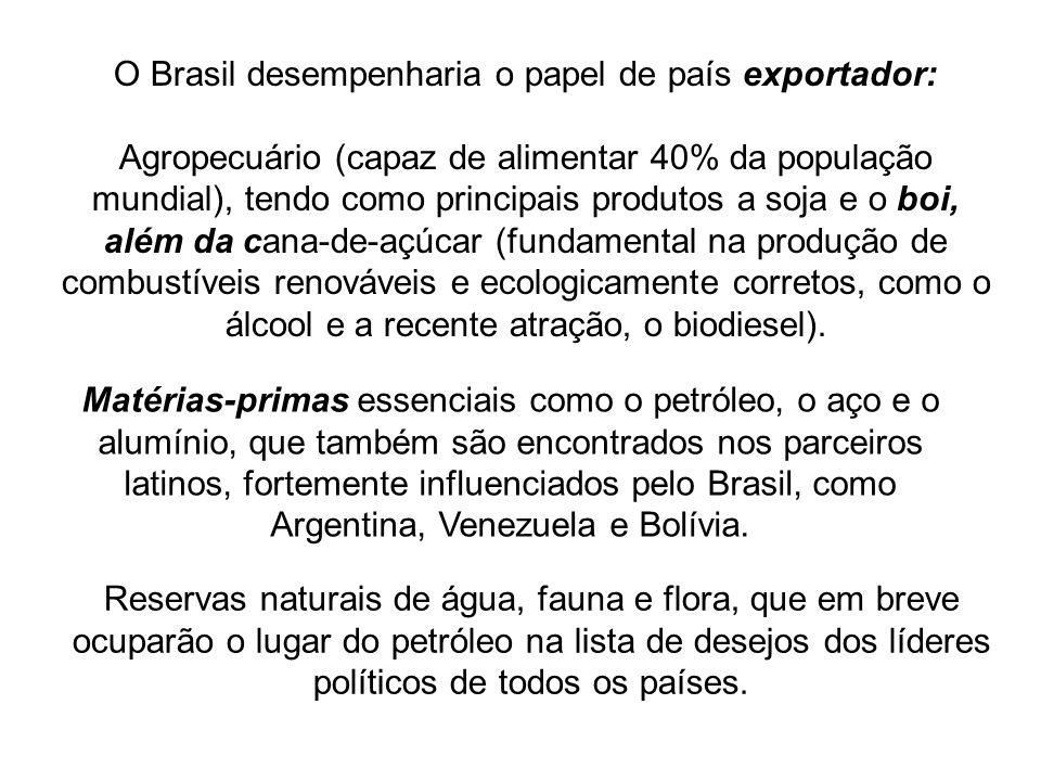 O Brasil desempenharia o papel de país exportador: Agropecuário (capaz de alimentar 40% da população mundial), tendo como principais produtos a soja e