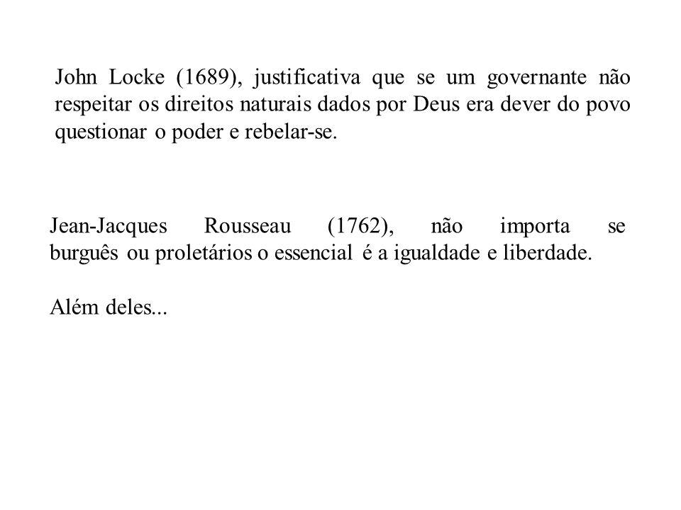 John Locke (1689), justificativa que se um governante não respeitar os direitos naturais dados por Deus era dever do povo questionar o poder e rebelar