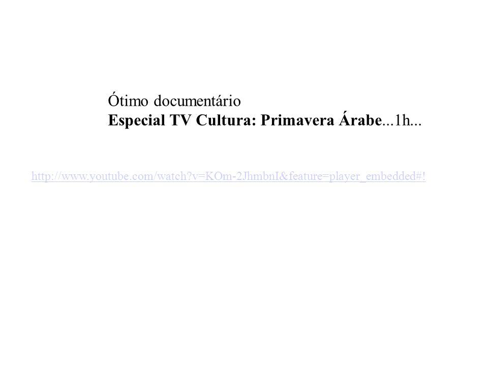 Ótimo documentário Especial TV Cultura: Primavera Árabe...1h... http://www.youtube.com/watch?v=KOm-2JhmbnI&feature=player_embedded#!