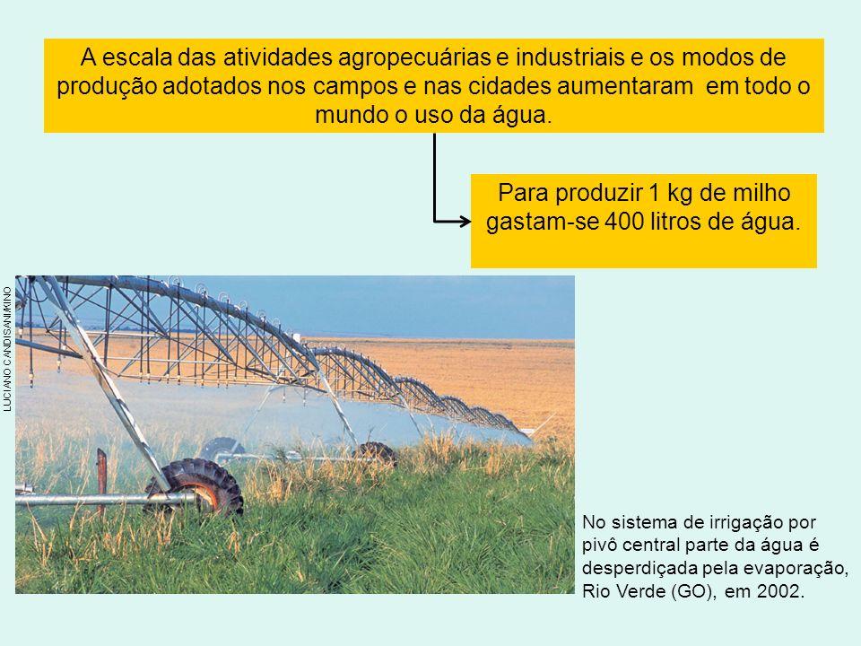 A escala das atividades agropecuárias e industriais e os modos de produção adotados nos campos e nas cidades aumentaram em todo o mundo o uso da água.