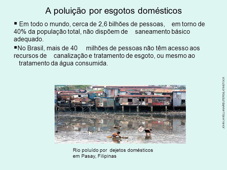A poluição por esgotos domésticos Em todo o mundo, cerca de 2,6 bilhões de pessoas, em torno de 40% da população total, não dispõem de saneamento básico adequado.