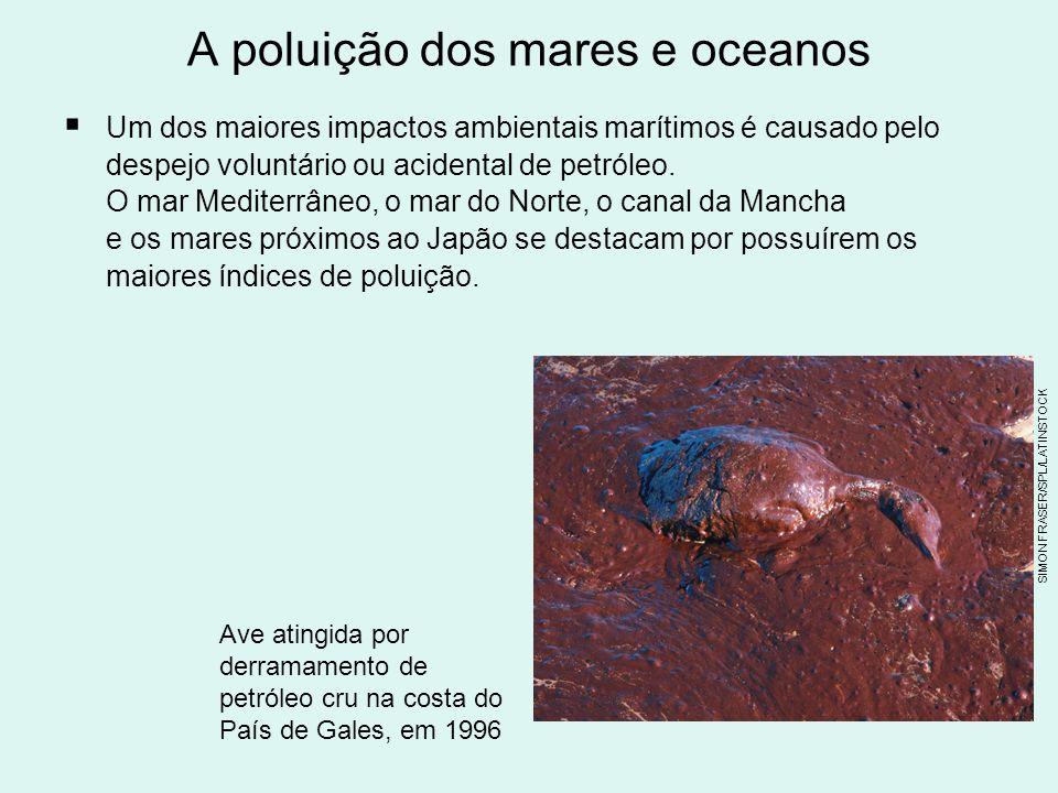 A poluição dos mares e oceanos Um dos maiores impactos ambientais marítimos é causado pelo despejo voluntário ou acidental de petróleo.