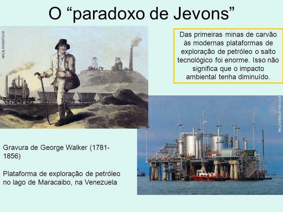 O paradoxo de Jevons Plataforma de exploração de petróleo no lago de Maracaibo, na Venezuela Das primeiras minas de carvão às modernas plataformas de exploração de petróleo o salto tecnológico foi enorme.