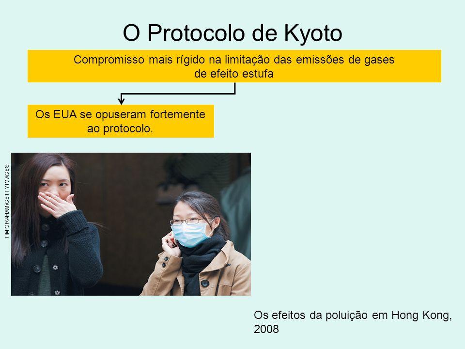 O Protocolo de Kyoto Compromisso mais rígido na limitação das emissões de gases de efeito estufa Os EUA se opuseram fortemente ao protocolo.