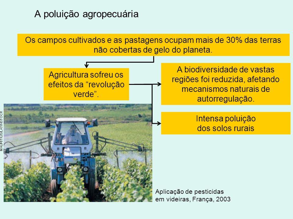 A poluição agropecuária Os campos cultivados e as pastagens ocupam mais de 30% das terras não cobertas de gelo do planeta.