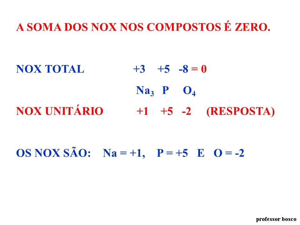 OXIGÊNIO NOS ÓXIDOS E COMPOSTOS. -2 H 2 O CaO NOX -2 -2 OXIGÊNIO NOS PERÓXIDOS H 2 O 2 CaO 2 NOX -1 -1 SOMA DOS NOX NOS COMPOSTOS ZeroExemplo a seguir