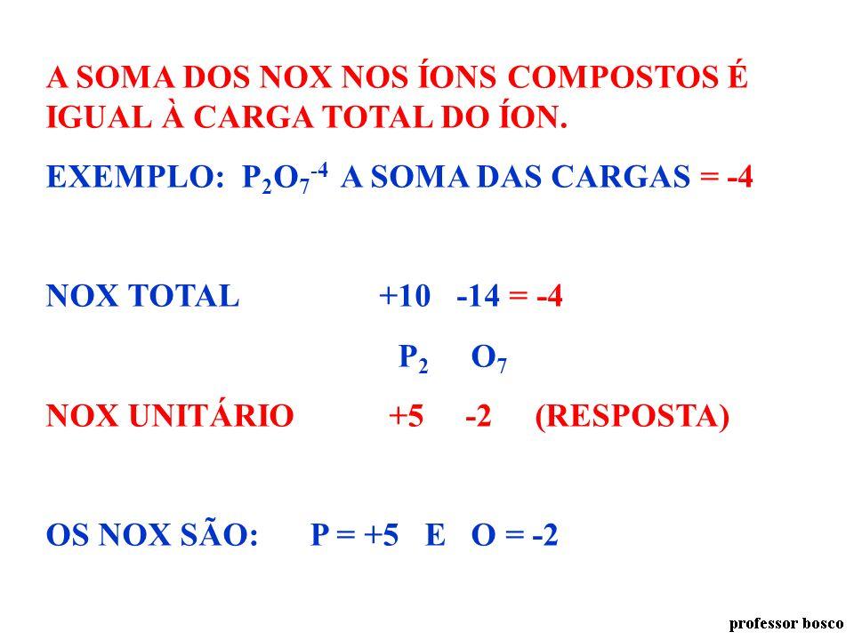 A SOMA DOS NOX NOS COMPOSTOS É ZERO. NOX TOTAL +3 +5 -8 = 0 Na 3 P O 4 NOX UNITÁRIO +1 +5 -2 (RESPOSTA) OS NOX SÃO: Na = +1, P = +5 E O = -2