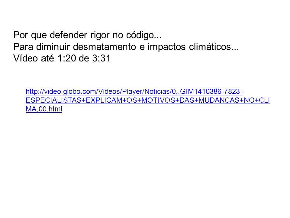 Por que defender rigor no código... Para diminuir desmatamento e impactos climáticos... Vídeo até 1:20 de 3:31 http://video.globo.com/Videos/Player/No