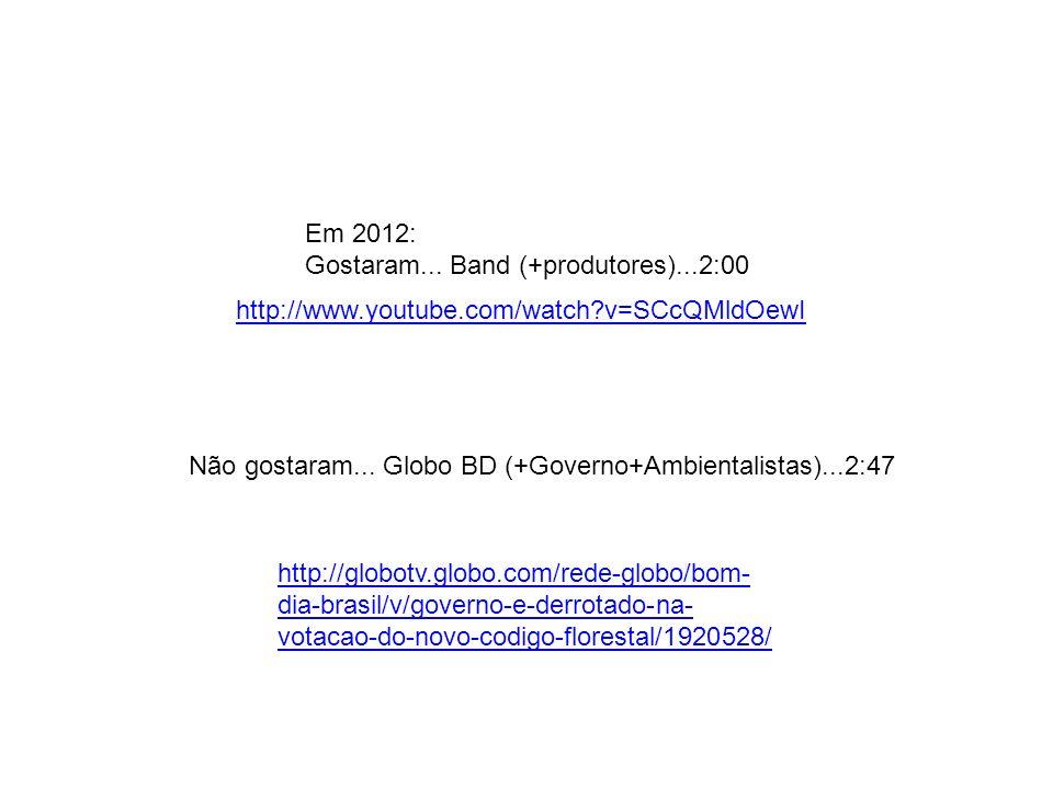Em 2012: Gostaram... Band (+produtores)...2:00 Não gostaram... Globo BD (+Governo+Ambientalistas)...2:47 http://globotv.globo.com/rede-globo/bom- dia-