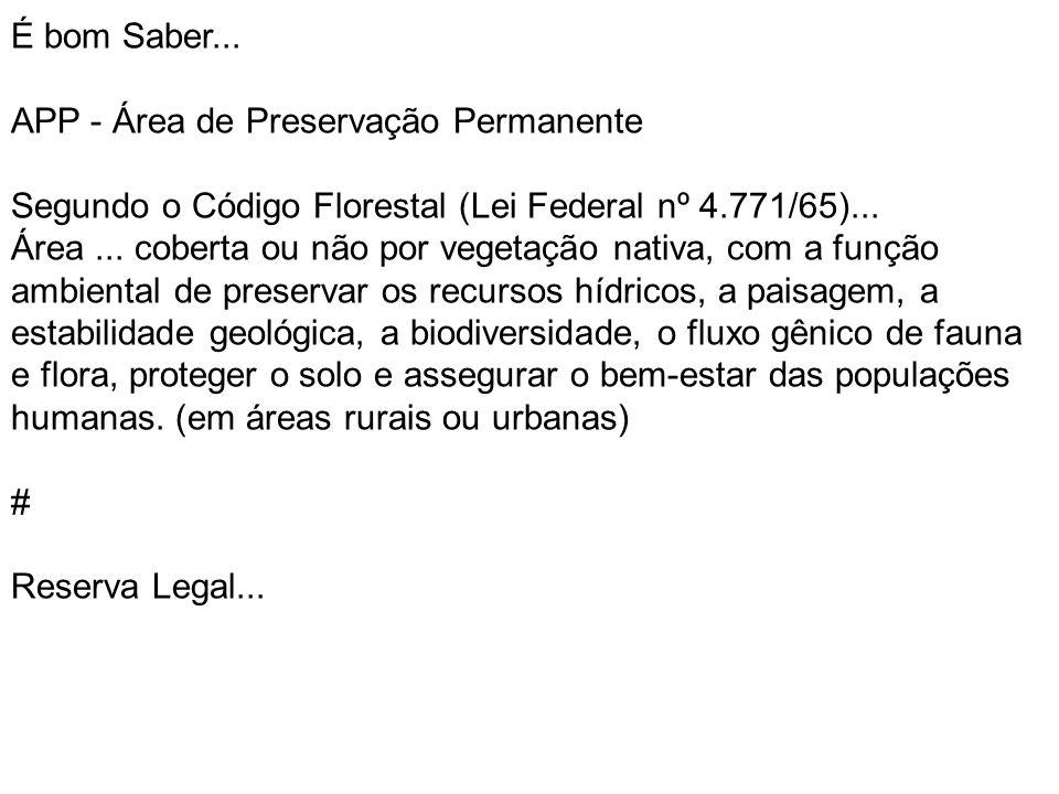 É bom Saber... APP - Área de Preservação Permanente Segundo o Código Florestal (Lei Federal nº 4.771/65)... Área... coberta ou não por vegetação nativ