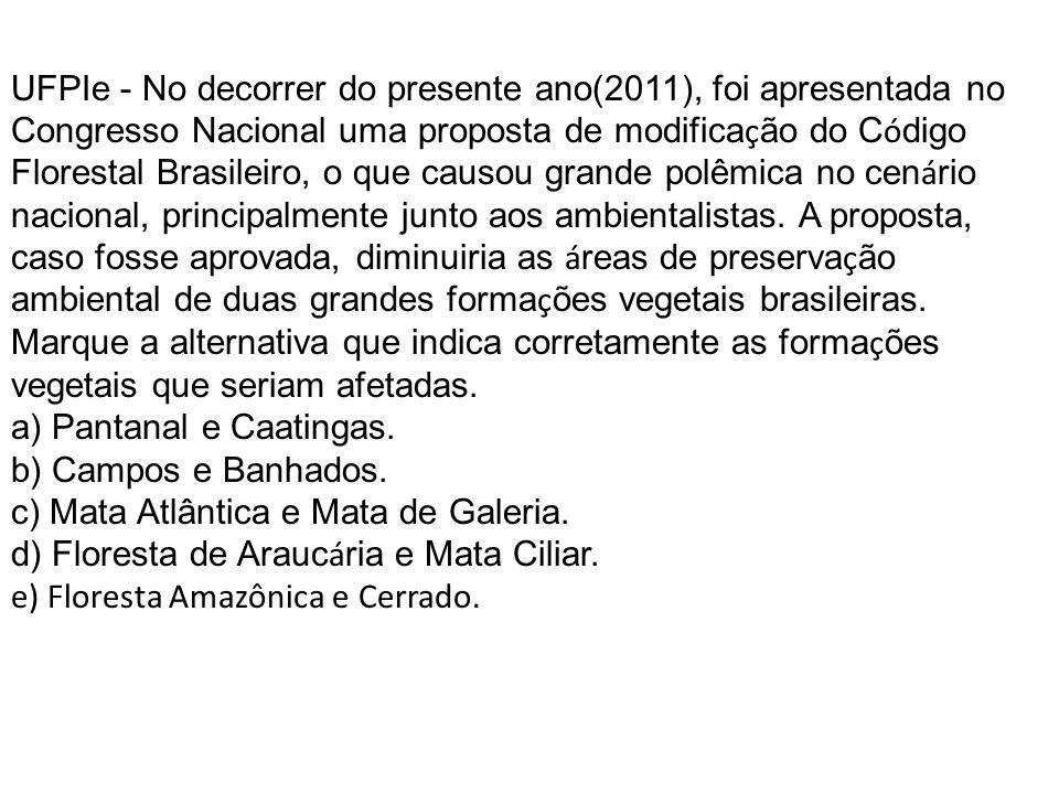 UFPIe - No decorrer do presente ano(2011), foi apresentada no Congresso Nacional uma proposta de modifica ç ão do C ó digo Florestal Brasileiro, o que causou grande polêmica no cen á rio nacional, principalmente junto aos ambientalistas.