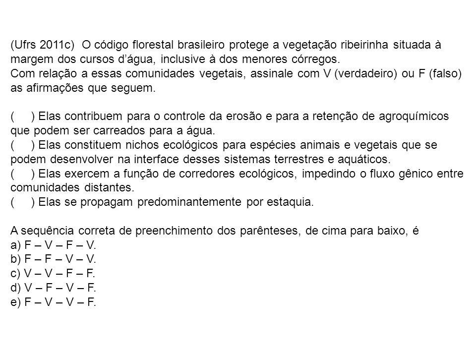 (Ufrs 2011c) O código florestal brasileiro protege a vegetação ribeirinha situada à margem dos cursos dágua, inclusive à dos menores córregos.