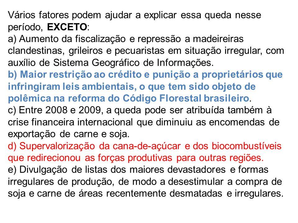 Vários fatores podem ajudar a explicar essa queda nesse período, EXCETO: a) Aumento da fiscalização e repressão a madeireiras clandestinas, grileiros