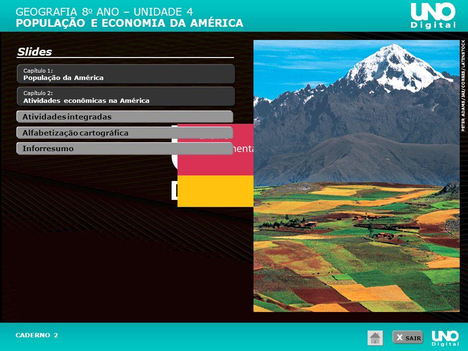 X SAIR Capítulo 1: População da América Capítulo 2: Atividades econômicas na América Slides PETER ADAMS/JAI/CORBIS/LATINSTOCK GEOGRAFIA 8 o ANO – UNID