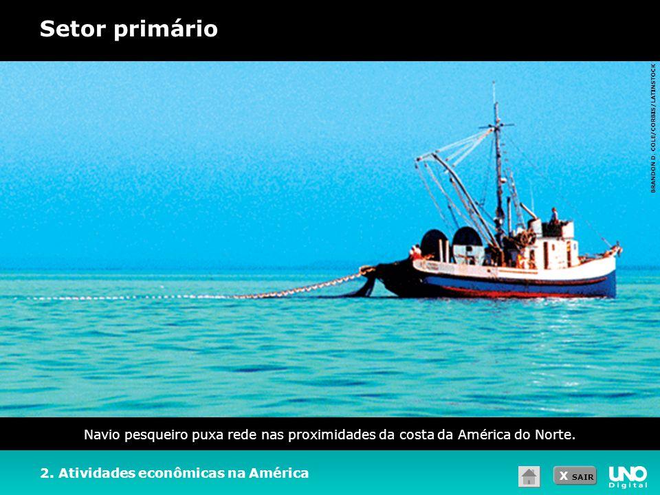 X SAIR Setor primário 2. Atividades econômicas na América Navio pesqueiro puxa rede nas proximidades da costa da América do Norte. BRANDON D. COLE/COR