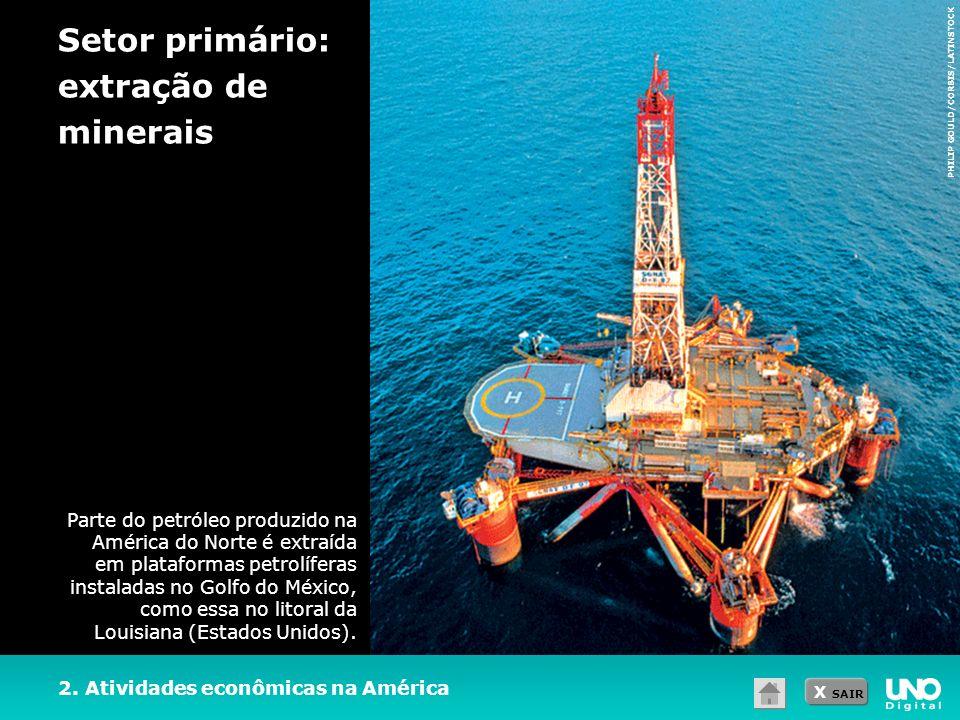 X SAIR 2. Atividades econômicas na América Setor primário: extração de minerais PHILIP GOULD/CORBIS/LATINSTOCK Parte do petróleo produzido na América