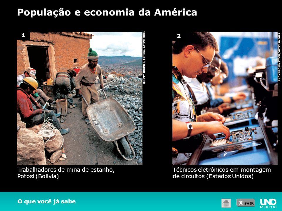 X SAIR População e economia da América ANDY SACKS/STONE/GETTY IMAGES JEREMY HORNER/CORBIS/LATINSTOCK O que você já sabe 1 2 Trabalhadores de mina de e