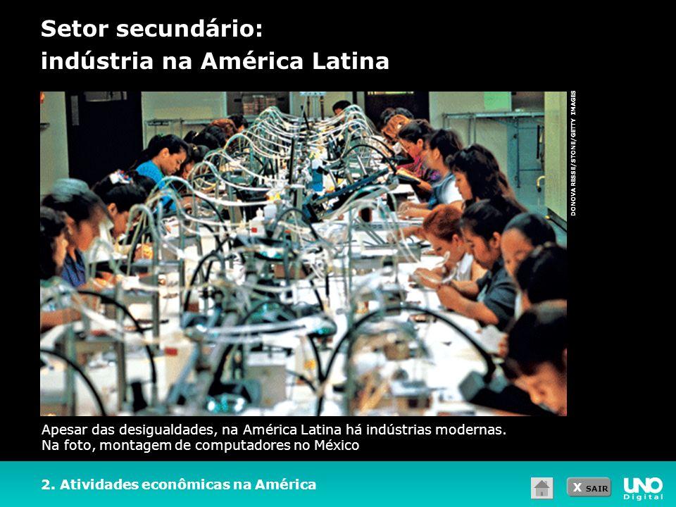 X SAIR DONOVA RESSE/STONE/GETTY IMAGES Setor secundário: indústria na América Latina 2. Atividades econômicas na América Apesar das desigualdades, na