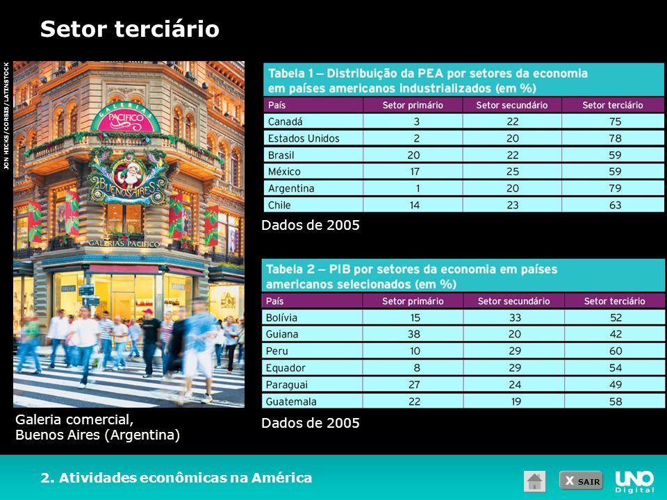X SAIR Setor terciário 2. Atividades econômicas na América JON HICKS/CORBIS/LATINSTOCK Galeria comercial, Buenos Aires (Argentina) Dados de 2005