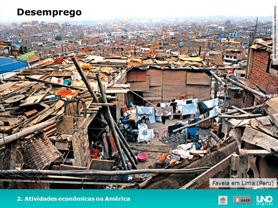 X SAIR Desemprego HOWARD DAVIES/CORBIS/LATINSTOCK 2. Atividades econômicas na América Favela em Lima (Peru)