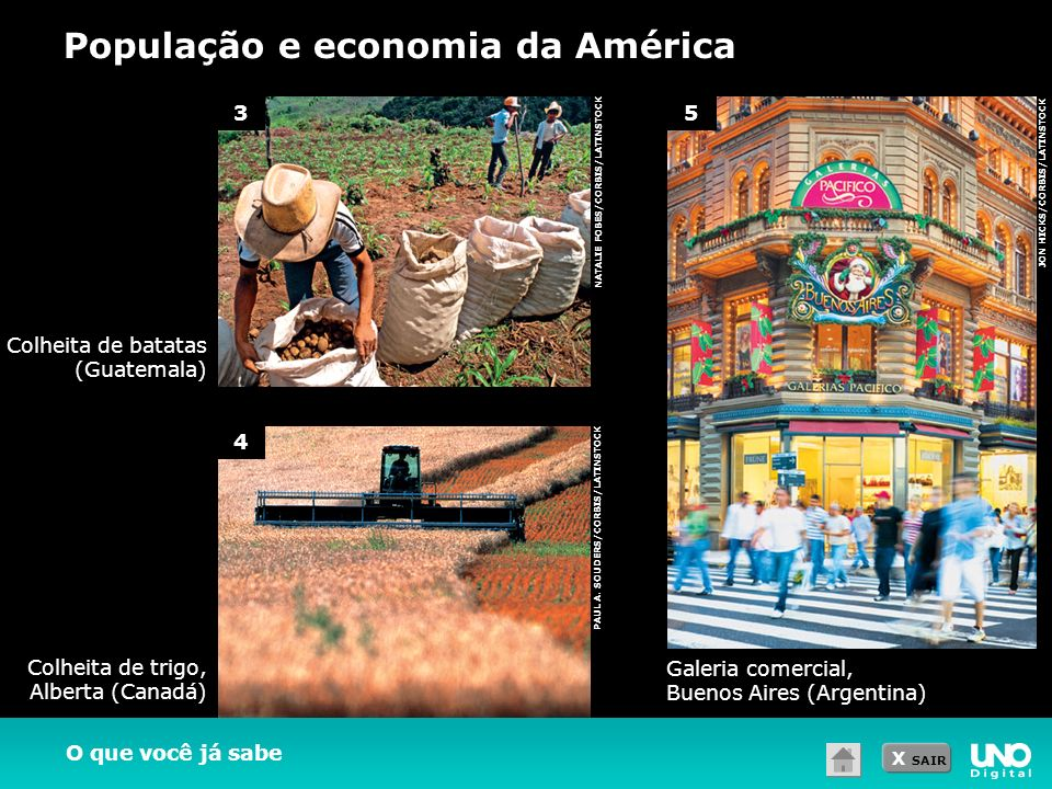 X SAIR População e economia da América O que você já sabe NATALIE FOBES/CORBIS/LATINSTOCK JON HICKS/CORBIS/LATINSTOCK PAUL A. SOUDERS/CORBIS/LATINSTOC