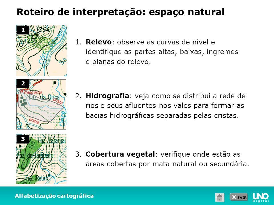 X SAIR Roteiro de interpretação: espaço natural Alfabetização cartográfica 1.Relevo: observe as curvas de nível e identifique as partes altas, baixas,