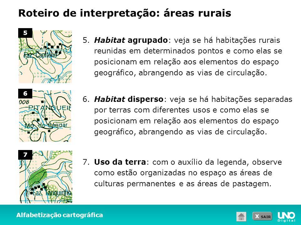 X SAIR Roteiro de interpretação: áreas rurais Alfabetização cartográfica 5 6 7 5. Habitat agrupado: veja se há habitações rurais reunidas em determina