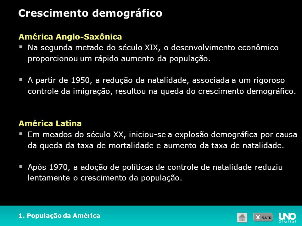 X SAIR Crescimento demográfico 1. População da América América Anglo-Saxônica Na segunda metade do século XIX, o desenvolvimento econômico proporciono