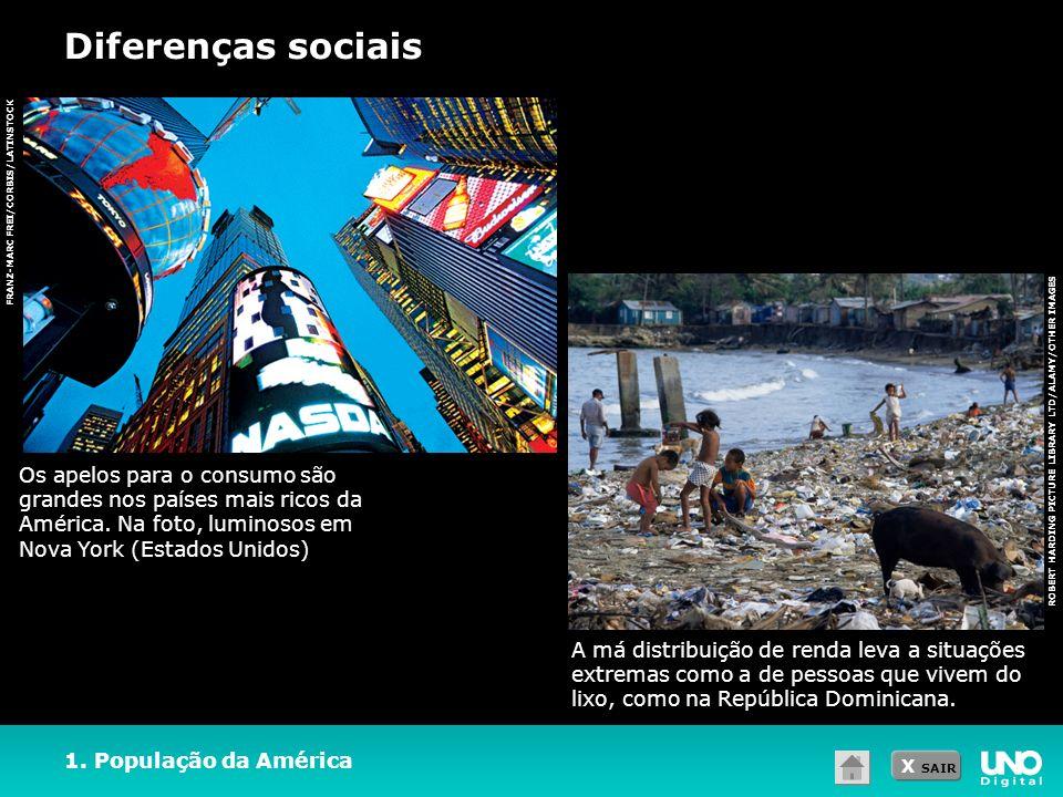 X SAIR Diferenças sociais ROBERT HARDING PICTURE LIBRARY LTD/ALAMY/OTHER IMAGES FRANZ-MARC FREI/CORBIS/LATINSTOCK 1. População da América A má distrib