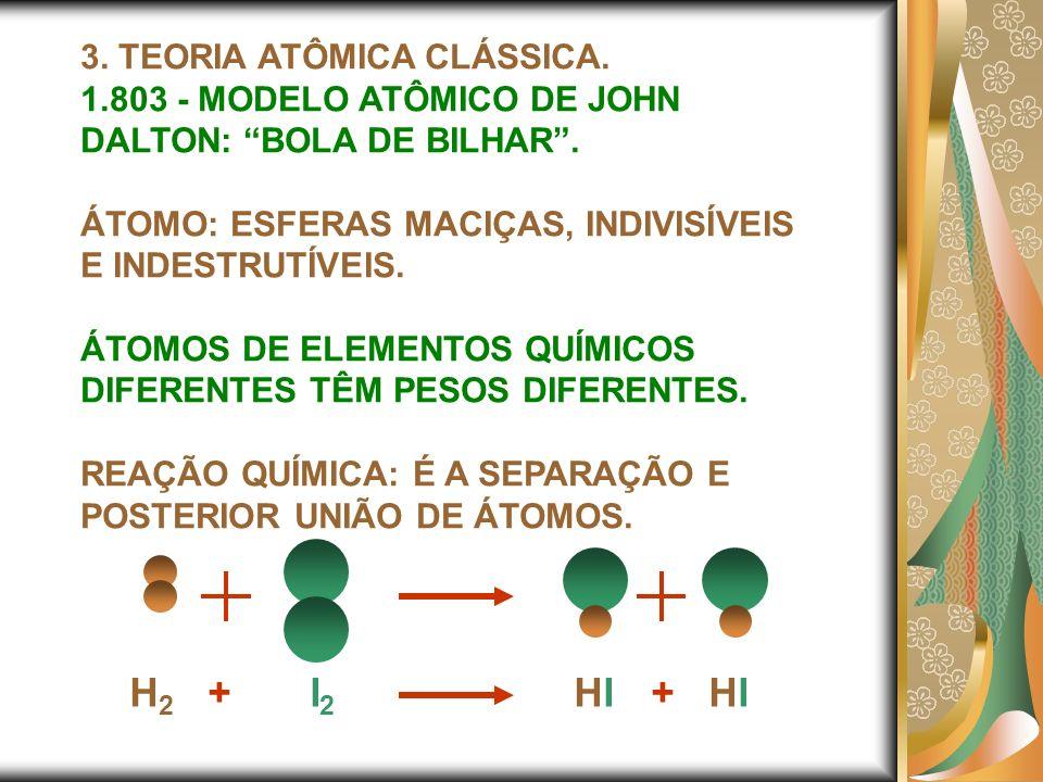 3. TEORIA ATÔMICA CLÁSSICA. 1.803 - MODELO ATÔMICO DE JOHN DALTON: BOLA DE BILHAR. ÁTOMO: ESFERAS MACIÇAS, INDIVISÍVEIS E INDESTRUTÍVEIS. ÁTOMOS DE EL