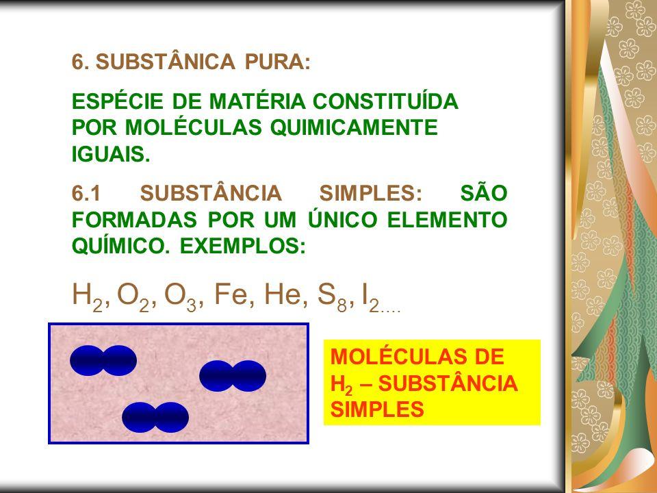 6. SUBSTÂNICA PURA: ESPÉCIE DE MATÉRIA CONSTITUÍDA POR MOLÉCULAS QUIMICAMENTE IGUAIS. 6.1 SUBSTÂNCIA SIMPLES: SÃO FORMADAS POR UM ÚNICO ELEMENTO QUÍMI