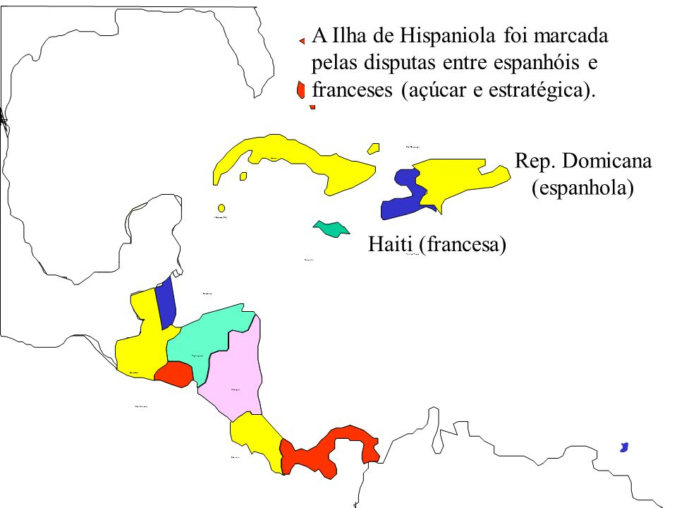 I.Cayman(RU) Haiti (francesa) Rep. Domicana (espanhola) Belmopan Guatemala São Salvador Tegucigalpa Manágua São José Nassau Havana Kingston Port-au-Pr