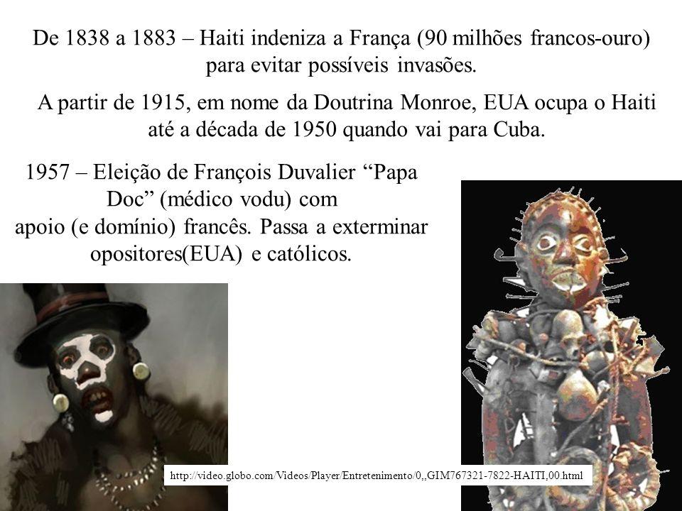 De 1838 a 1883 – Haiti indeniza a França (90 milhões francos-ouro) para evitar possíveis invasões. A partir de 1915, em nome da Doutrina Monroe, EUA o