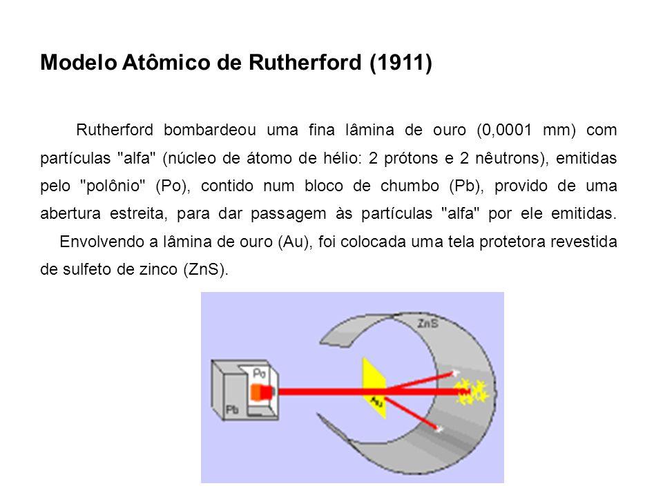 Modelo Atômico de Rutherford (1911) Rutherford bombardeou uma fina lâmina de ouro (0,0001 mm) com partículas