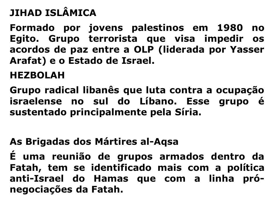 HAMAS Fundado em 1987 como uma ramificação da radical Fraternidade Islâmica, baseada no Egito. O Hamas - que significa