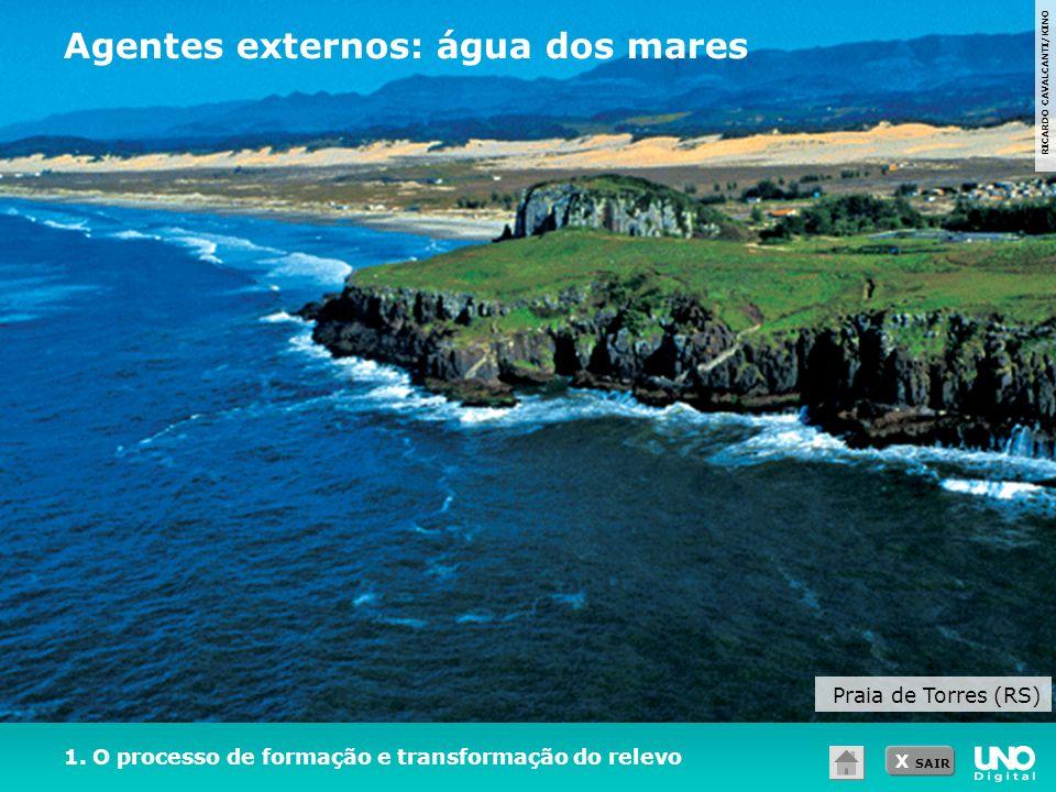 X SAIR 1. O processo de formação e transformação do relevo RICARDO CAVALCANTI/KINO Praia de Torres (RS) Agentes externos: água dos mares