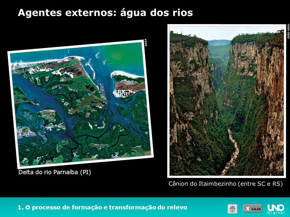 X SAIR 1. O processo de formação e transformação do relevo Agentes externos: água dos rios JOÃO KEHL Cânion do Itaimbezinho (entre SC e RS) Delta do r