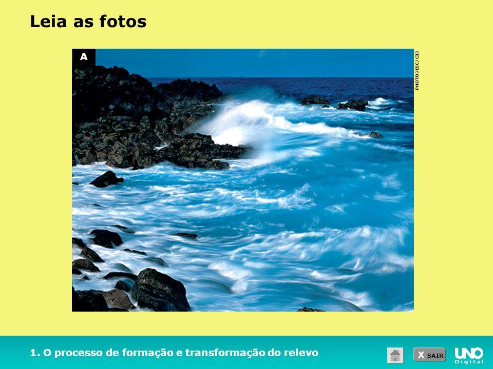 X SAIR PHOTODISC/CID 1. O processo de formação e transformação do relevo Leia as fotos A