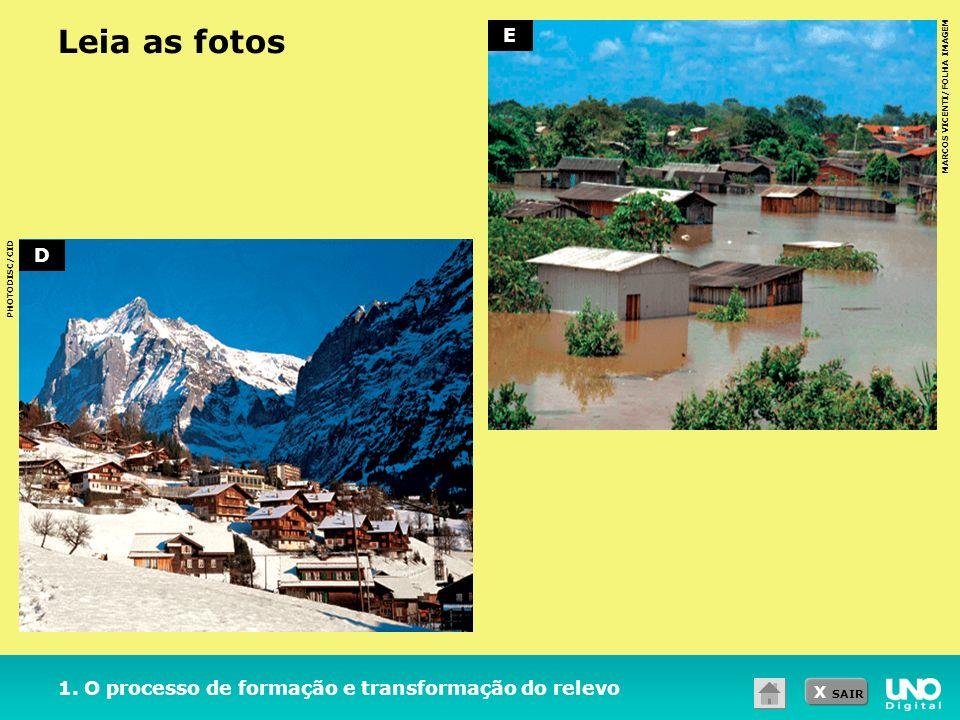 X SAIR Leia as fotos 1. O processo de formação e transformação do relevo MARCOS VICENTI/FOLHA IMAGEM PHOTODISC/CID D E