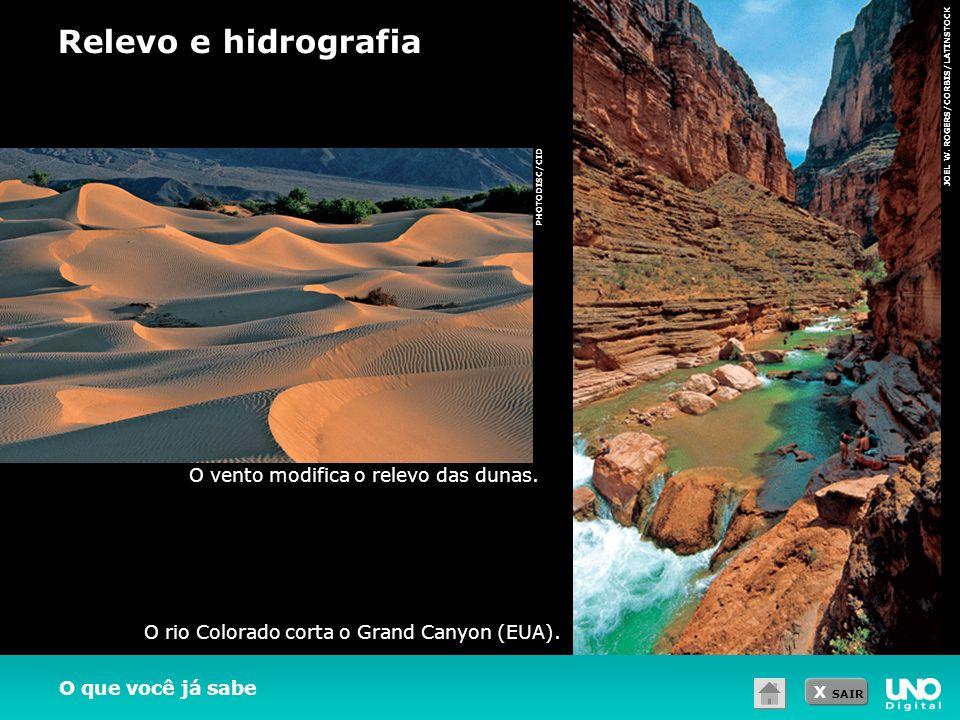 X SAIR O que você já sabe JOEL W. ROGERS/CORBIS/LATINSTOCK O rio Colorado corta o Grand Canyon (EUA). Relevo e hidrografia O vento modifica o relevo d