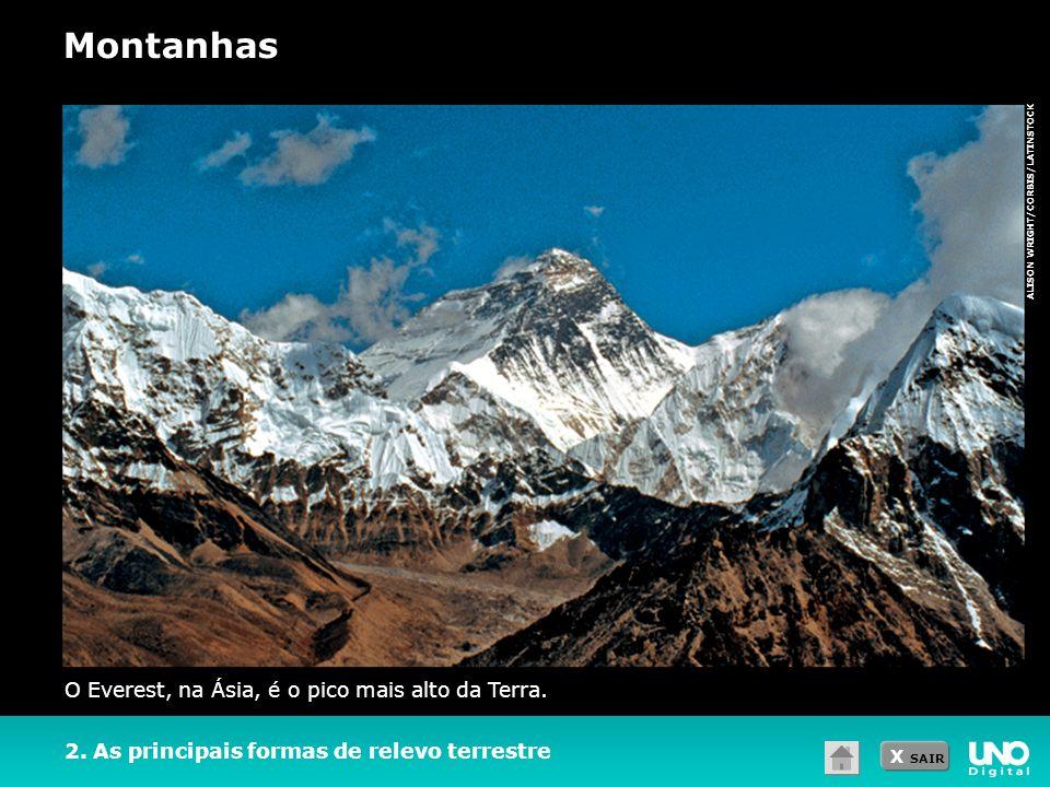 X SAIR ALISON WRIGHT/CORBIS/LATINSTOCK 2. As principais formas de relevo terrestre O Everest, na Ásia, é o pico mais alto da Terra. Montanhas