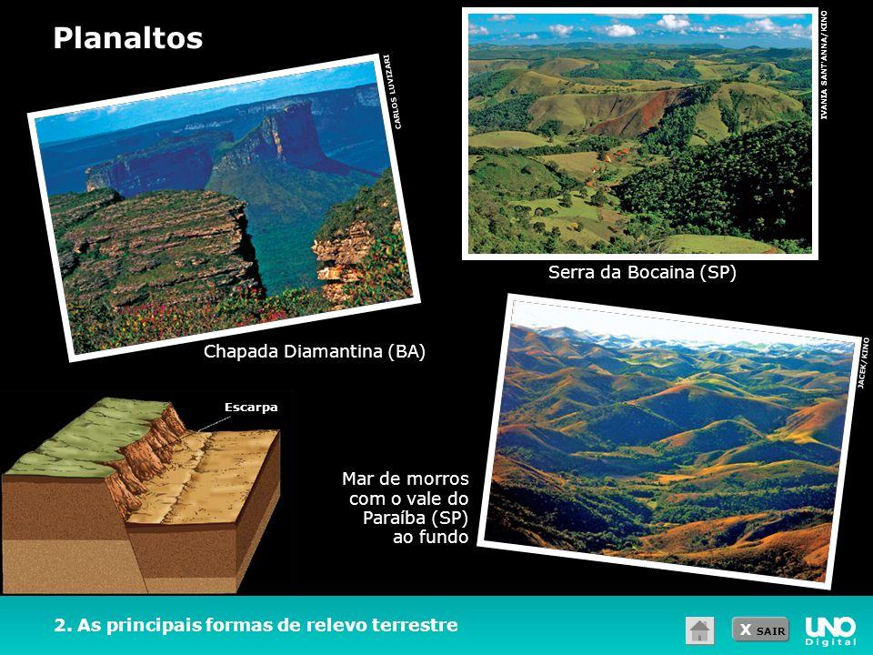 X SAIR 2. As principais formas de relevo terrestre Planaltos Serra da Bocaina (SP) IVANIA SANT'ANNA/KINO Mar de morros com o vale do Paraíba (SP) ao f