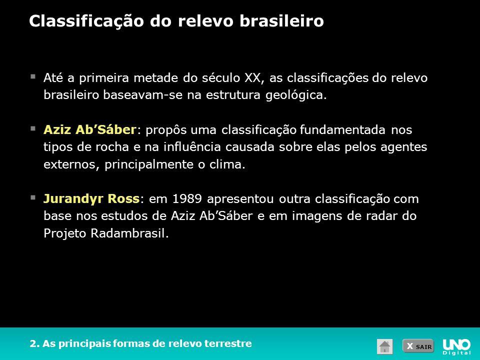 X SAIR Classificação do relevo brasileiro Até a primeira metade do século XX, as classificações do relevo brasileiro baseavam-se na estrutura geológic