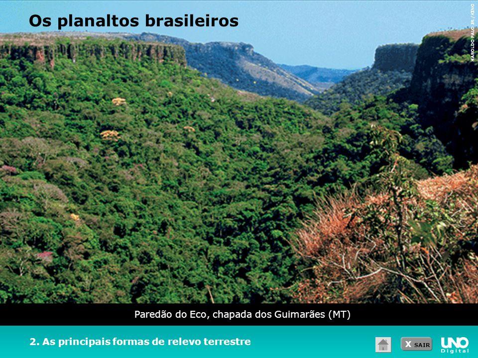 X SAIR Paredão do Eco, chapada dos Guimarães (MT) 2. As principais formas de relevo terrestre Os planaltos brasileiros HAROLDO PALO JR./KINO