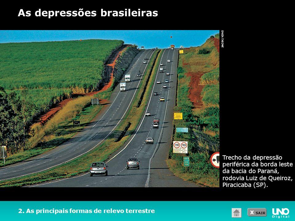 X SAIR 2. As principais formas de relevo terrestre As depressões brasileiras JACEK/KINO Trecho da depressão periférica da borda leste da bacia do Para