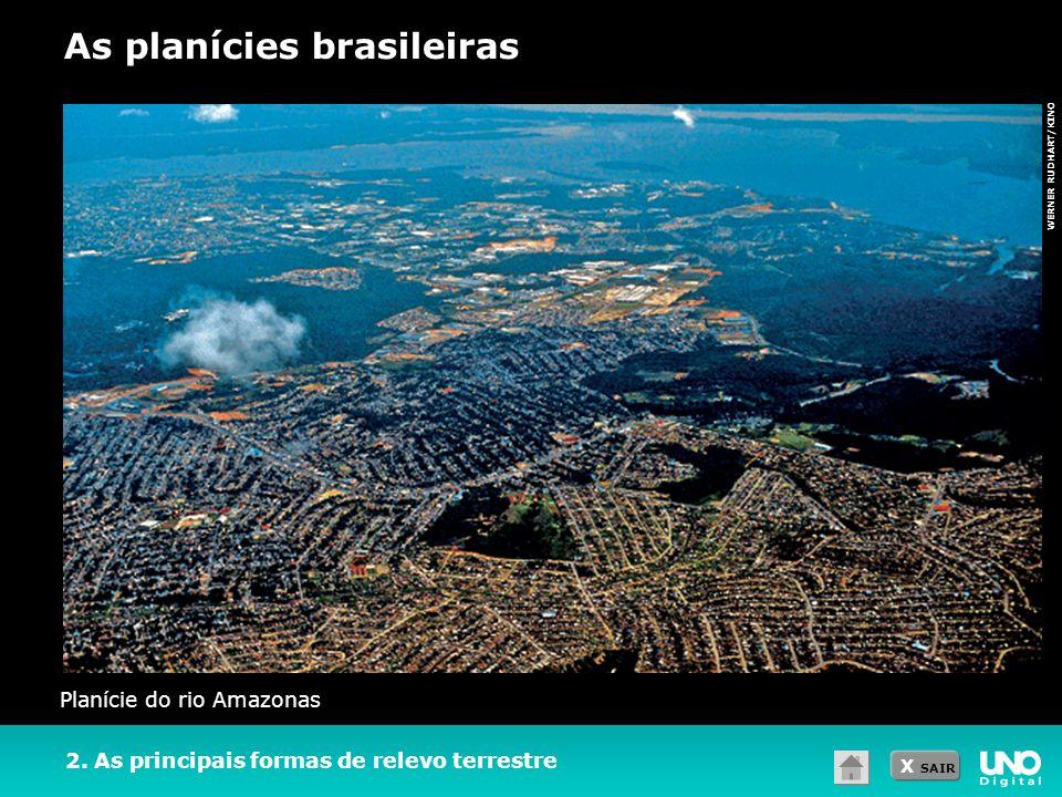 X SAIR WERNER RUDHART/KINO 2. As principais formas de relevo terrestre As planícies brasileiras Planície do rio Amazonas