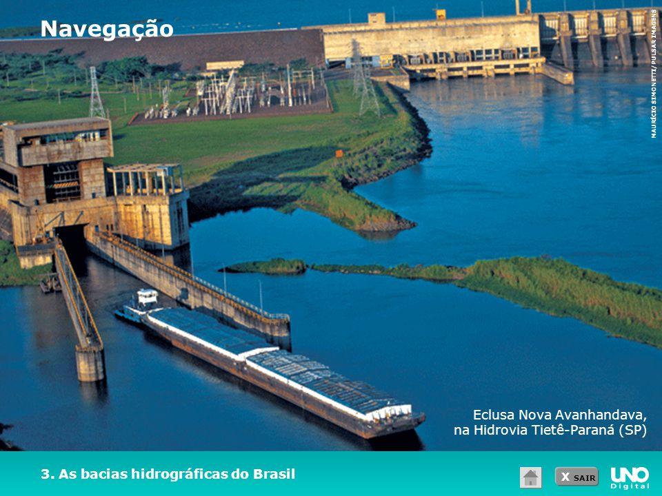 X SAIR 3. As bacias hidrográficas do Brasil Eclusa Nova Avanhandava, na Hidrovia Tietê-Paraná (SP) Navegação MAURÍCIO SIMONETTI/PULSAR IMAGENS