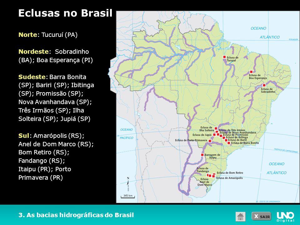 X SAIR 3. As bacias hidrográficas do Brasil Eclusas no Brasil Norte: Tucuruí (PA) Nordeste: Sobradinho (BA); Boa Esperança (PI) Sudeste: Barra Bonita