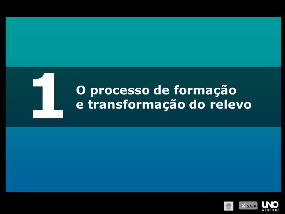1 1 O processo de formação e transformação do relevo X SAIR